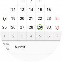 Calendar view with reminder to submit