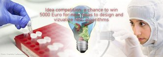 Photo collage illustrating the Bio4Comp idea competition about visualization of NBC algorithms